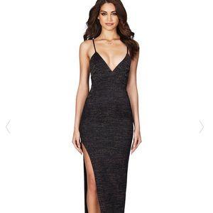 Nookie Aura gown dress, black metallic, size M